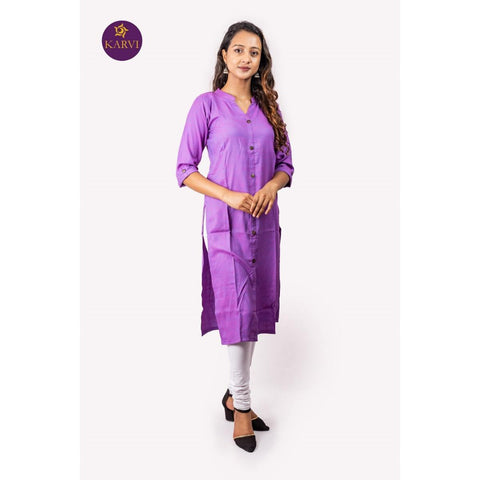 KARVI Purple Slub Rayon Linen type Mandarin Collar Kurti for Women price in Nepal