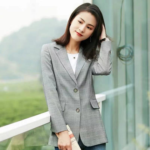 Women's Single Breasted Double Button Notched Lapel Blazer by Attire Nepal