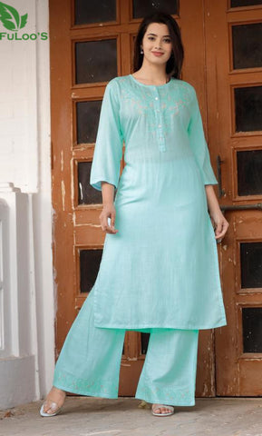 Rayon Straight Embroidery Kurti With Palazzo#LightBlue price in nepal