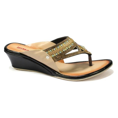 Golden/Black V-Strap Wedge Heel Shoes For Women price in nepal