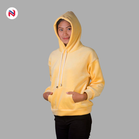 Nyptra Yellow Solid Velvet Pullover Hoodie For Women