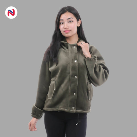 Nyptra Green Solid Velvet Buttoned Pullover Hoodie Jacket For Women price in nepal