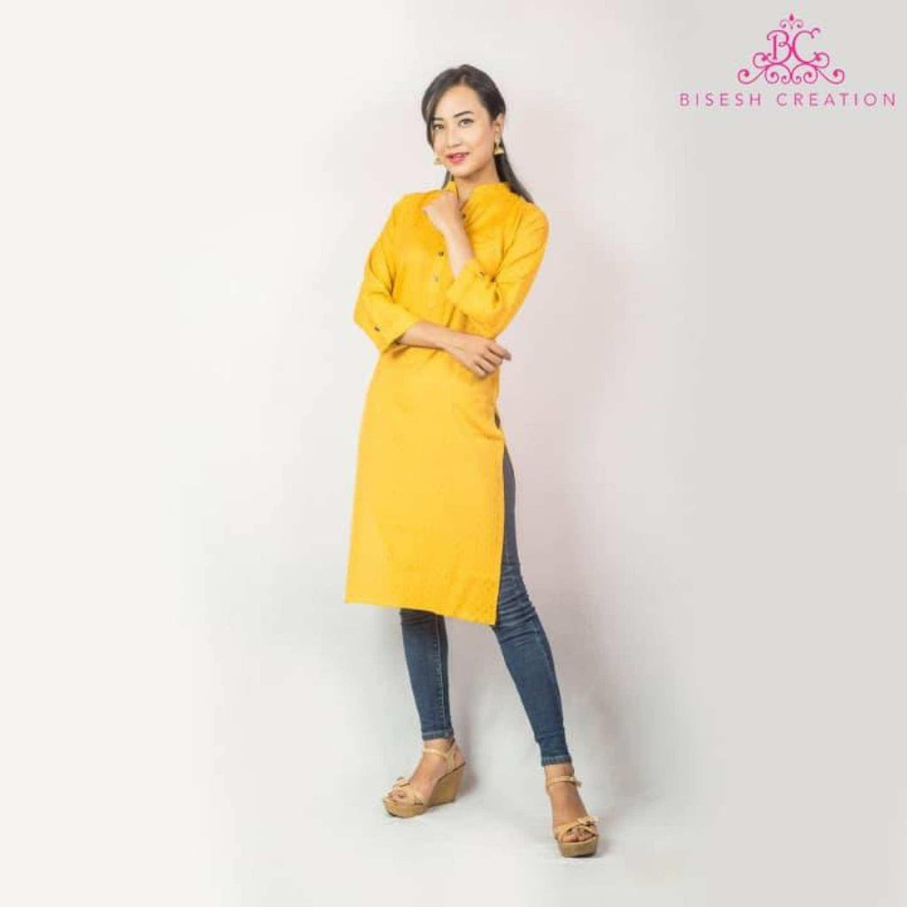 Yellow Mandarin Collared Rayon Kurti For Women - BC 864