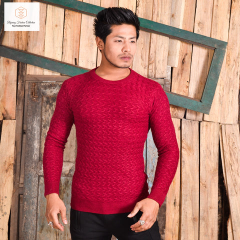 Men Autumn and Winter Slim Fit Long Sleeved Round Neck Warm Simple Sweater By Bajrang