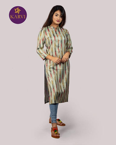 KARVI Sea Green & Golden Stripe Print Kurti for Women with Front Button