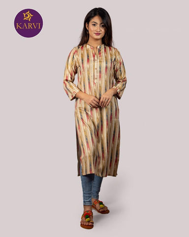 KARVI Beige & Golden Stripe Print Kurti for Women with Front Button price in Nepal