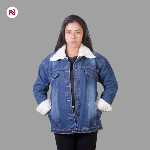 Nyptra Dark Blue Solid Fur Denim Jacket For Women price in nepal