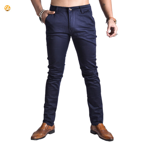 Blue Chinos Skinny Fit Cotton Pant for Men price in nepal