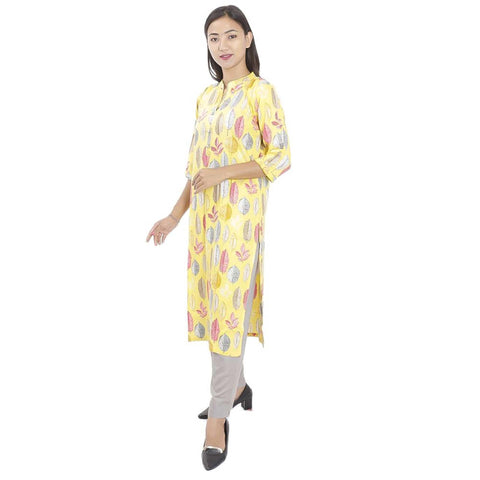 Yellow Grey Leaves Printed Rayon Kurti & Pant For Women
