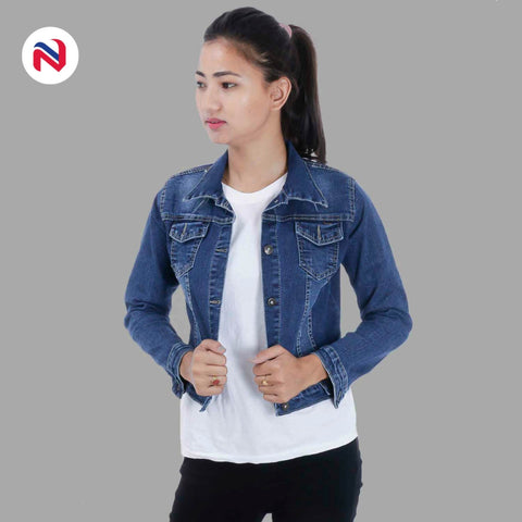 Nyptra Dark Blue Crop Denim Jacket For Women