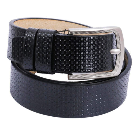 Black Shiny Textured Belt For Men