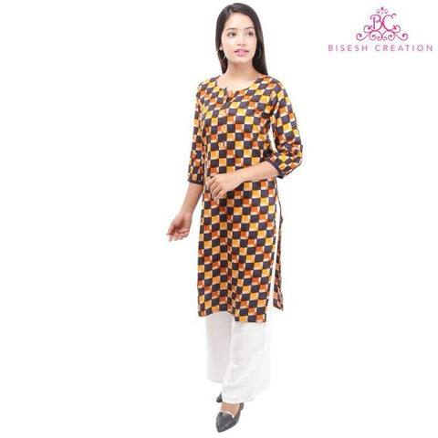 Bisesh Creation Yellow/Navy Checkered Front Buttoned Designed Kurti For Women