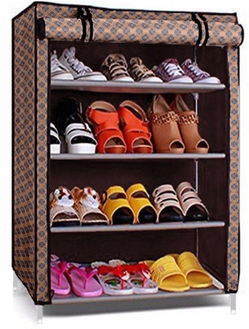 4 Layer Shoe Rack With Cover Space Saver Storage Organizer (Color May Vary)