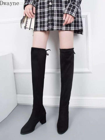 Scrub Leather Women Fashion Knee High Boots Over The Knee Boots Hoof Heels - ( Nep-1) price in Nepal