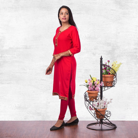 Bisesh Creation Red Brocade Bordered Rayon Kurti For Women price in nepal