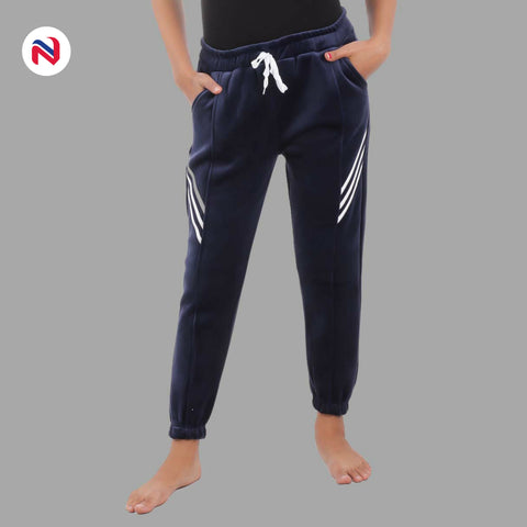Nyptra Blue Velvet Stripes Inner Fleece Joggers For Women in nepal
