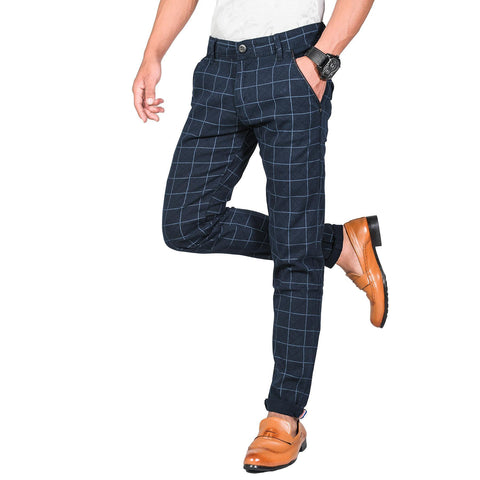 Virjeans Stretchable Cotton Check Blue Chinos Pant For Men (Vjc 714) 4