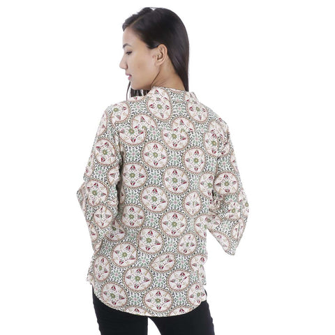 Off White Geometrical Printed Mandarin Tunic For Women