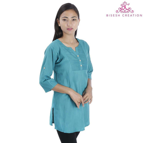 Seagreen Pintuck designed Rayon Slub Top For Women