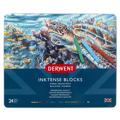 Derwent Inktense Watersoluble Ink Blocks Tin (Set of 24)