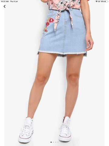 Floral Embroidered denim skirt/ jeans skirt price in nepal