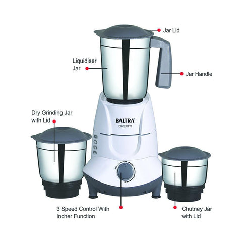 Baltra Dream 3 Jar Mixer Grinder BMG130, 500watt