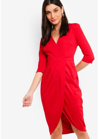 Zalora Mid Sleeves Overlap Dress