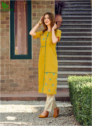 FuLoo's Olive Pure Cotton Pattern Designer Embroidered Kurti for Women (ONLY KURTI) #04 price in nepal