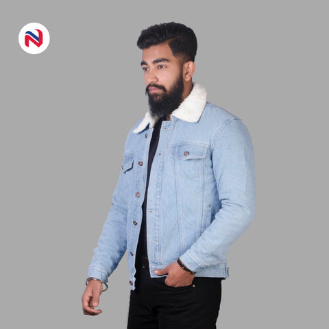 Nyptra Light Blue Solid Fur Denim Jacket For Men