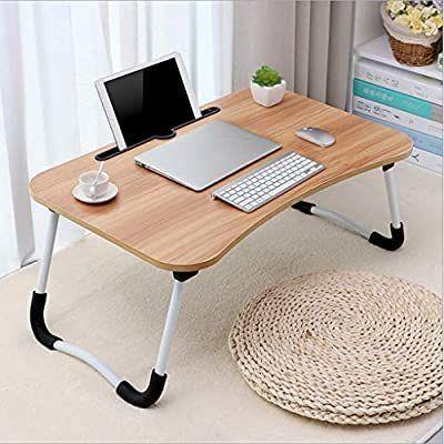 Smart Multi-Purpose Laptop Table Stand/Study Table/Bed Table/Foldable and Portable/Ergonomic & Rounded Edges/Non-Slip Legs/Engineered Wood/Color - Random Colours