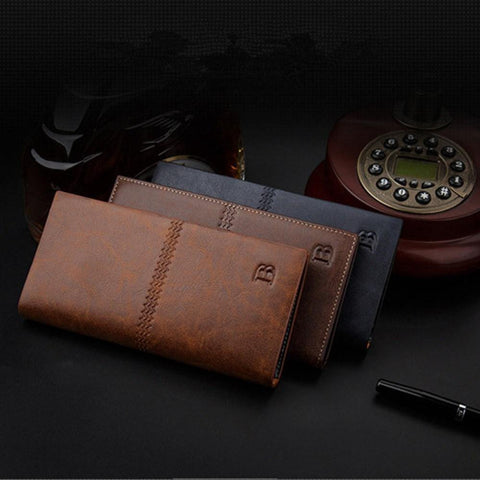 Men's Leather Bifold Id Card Holder Long Wallet Purse Checkbook Clutch Billfold (41000910)