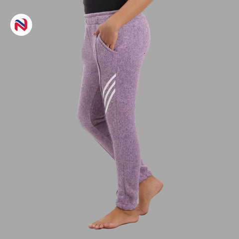 Nyptra Blue Gray Plain/Side Stripes Inner Fleece Joggers For Women