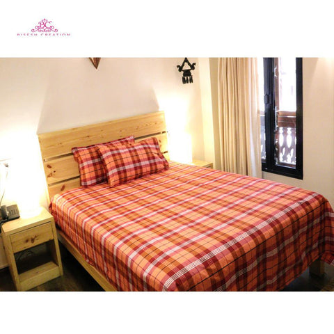 Bisesh Creation BD 01 Orange Red Checkered King Size Cotton Bed Sheet With 2 Pillow Cover Price in nepal