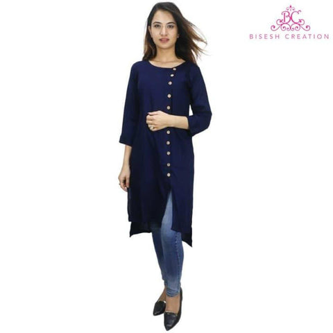 Navy Blue Side Buttoned High Low Kurti For Women