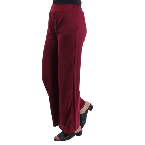 Maroon Solid Wide Leg Strecthable Pant For Women