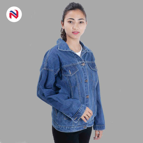 Nyptra Light Blue Over Size Solid Denim Jacket For Women price in nepal