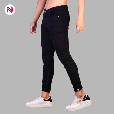 Nyptra Black Stretchable Jeans For Men