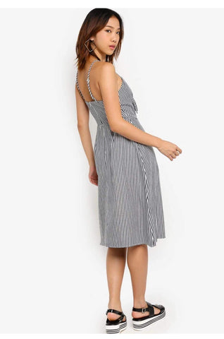 Something Borrowed Striped Cut Out Tie Front Midi Dress
