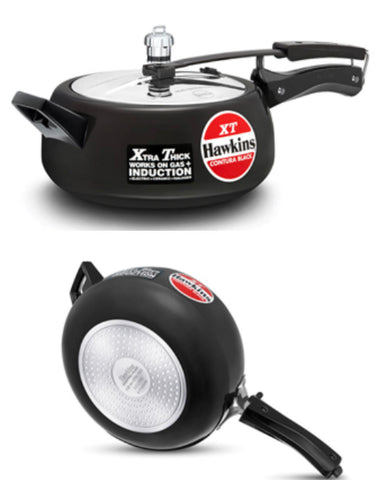 Hawkins Black Contura Pressure Cooker Induction Compatible (Cxt35)-3.5 litre