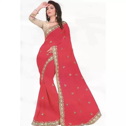 Georgette Formal Wear Saree With Matching Blouse For Women Price in nepal