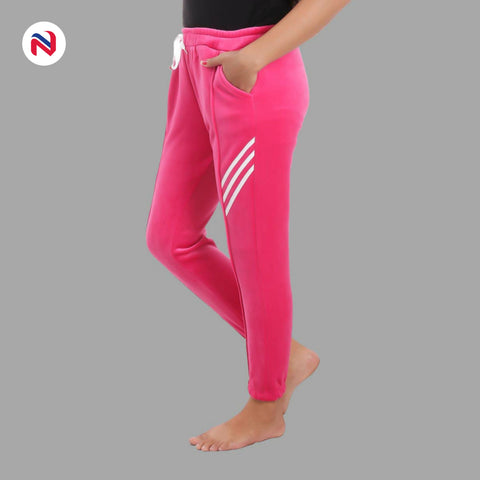 Nyptra Pink Velvet Stripes Inner Fleece Joggers For Women
