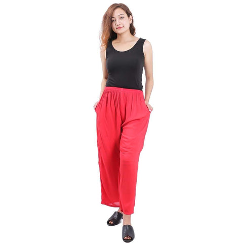 Red Solid Wide Leg Strecthable Pant For Women  price in nepal