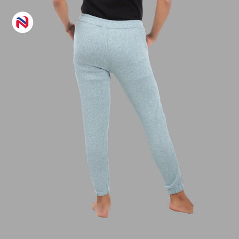 Nyptra Sky Blue Plain/Side Stripes Inner Fleece Joggers For Women