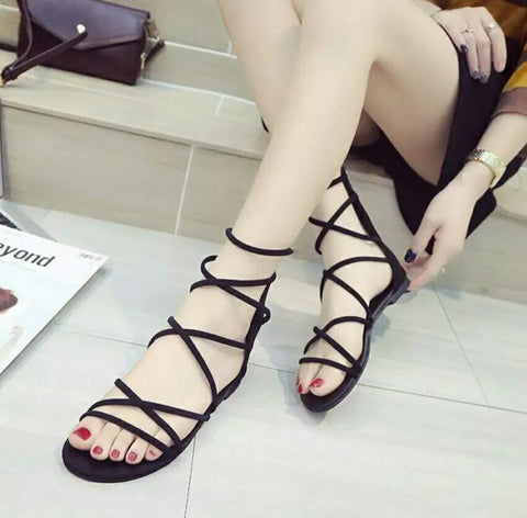 Fabulous Black Back Zippered Gladiator Sandals For Women - Klp-1