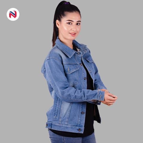 Nyptra Light Blue Oversized Premium Solid Denim Jacket For Women