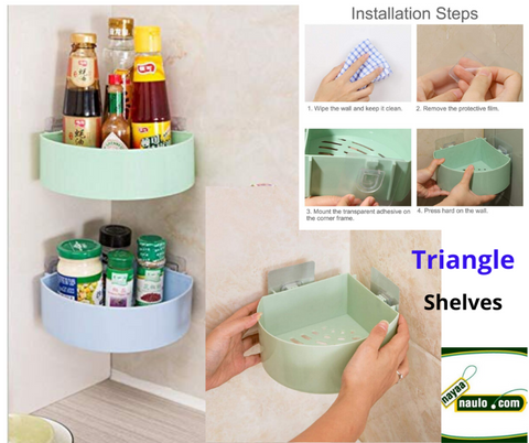 Plastic Triangle Corner For Bathroom Kitchen Storage Organize Shelf Rack Shower Basket With Wall Mounted Suction Cup (Set Of 1) price in Nepal