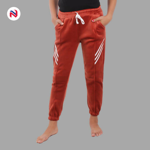 Nyptra Brown Velvet Stripes Inner Fleece Joggers For Women price in nepal