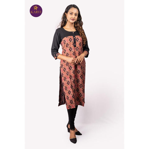 KARVI Peach & Black Ethnic Printed Front buttoned Kurti for Women price in Nepal