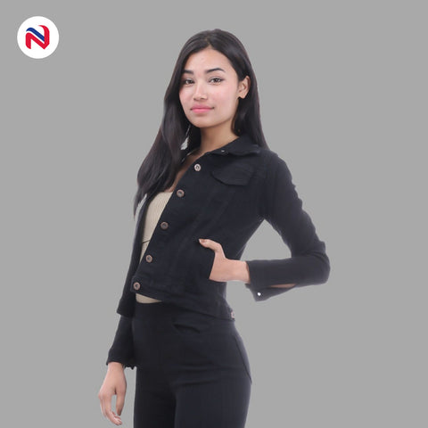 Nyptra Black Crop Denim Jacket For Women price in nepal