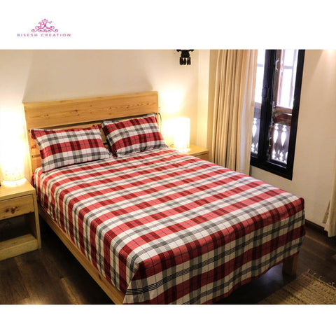 Bisesh Creation BD 04 Red White Checkered King Size Cotton Bed Sheet With 2 Pillow Cover Price in nepal